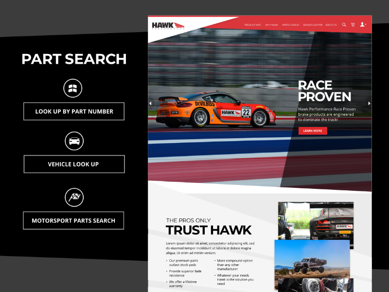 A sample image of our work for Hawk Performance
