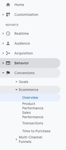 Analytics ecom settings