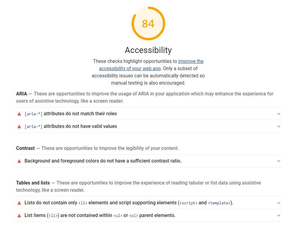 Lighthouse accessibility