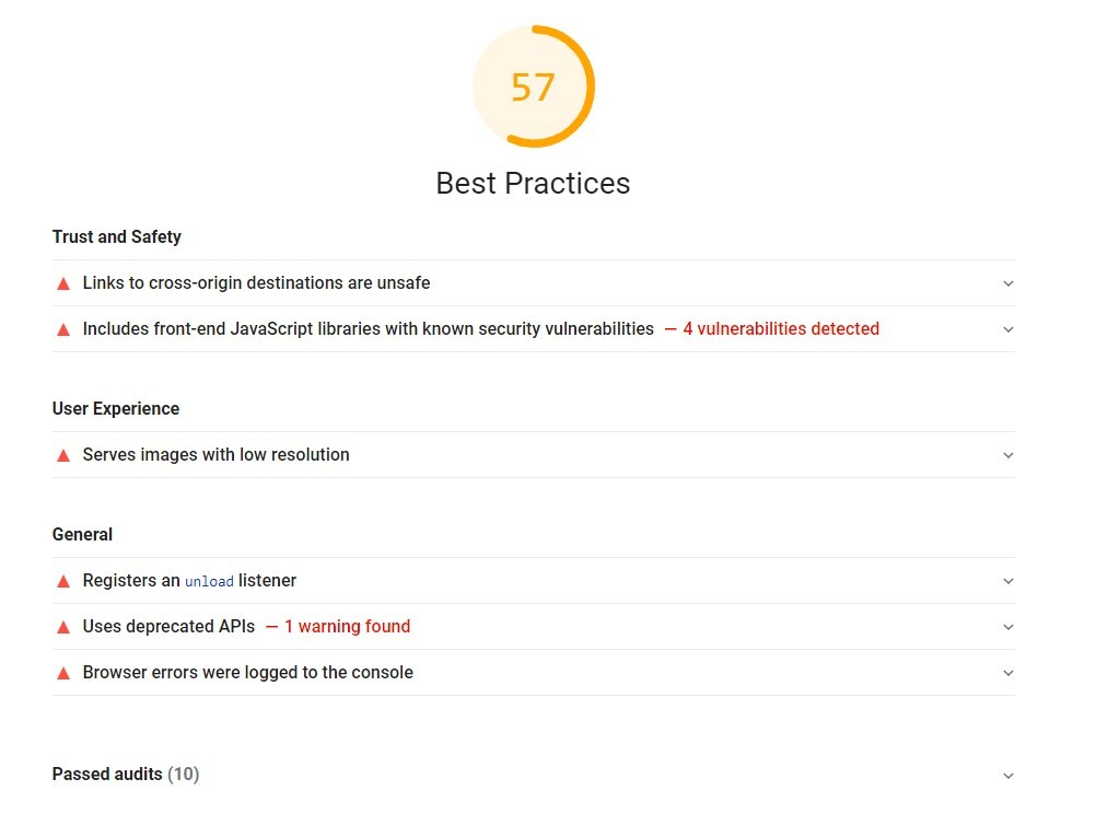 Lighthouse best practices